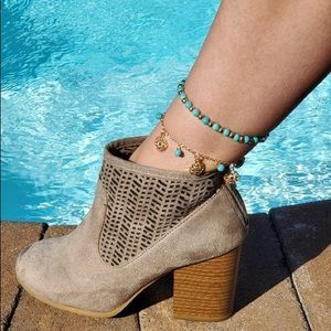 Boho Turquoise and gold tone anklet 2 piece set
